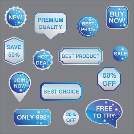 Plata y azul set de pegatinas, etiquetas, escudos y los iconos con la estrella Vector Vectores