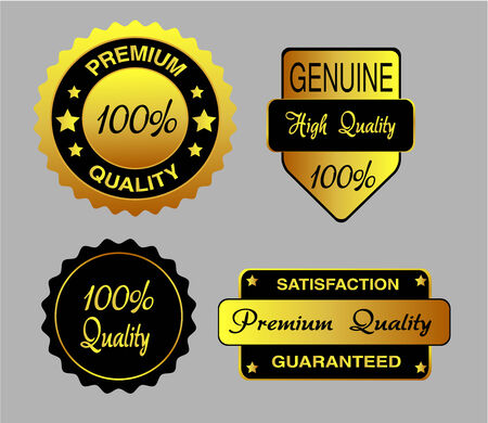 procent: Set of luxury gold business quality labels Vector Illustration