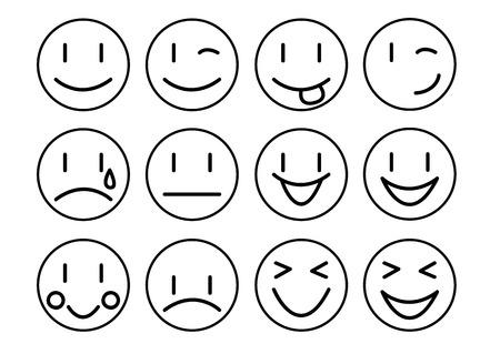Establecer emoticonos animados con diferentes expresiones Vector