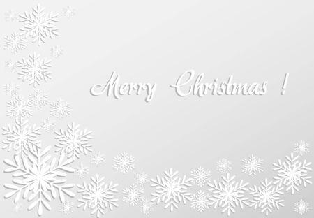 Feliz tarjeta de Navidad con copos de nieve de papel Vector