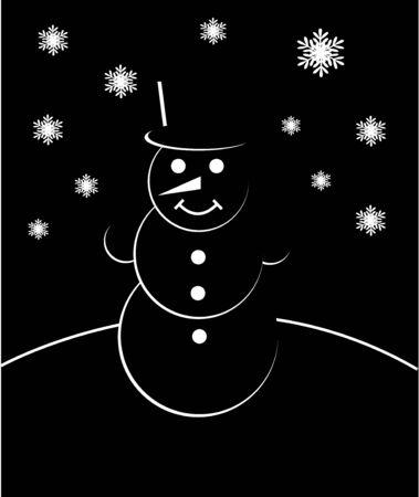Mu�eco de nieve blanco y negro con la tarjeta de los copos de nieve Vector