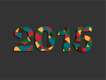 Happy New Year 2015 Colorful Retro Triangle Text Message  Vector