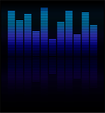 Audio level blue LED from Music Studio with reflection Vector Vector