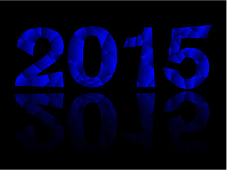 Happy New Year 2015 Blue Triangle Text Message Vector with reflection Ilustração