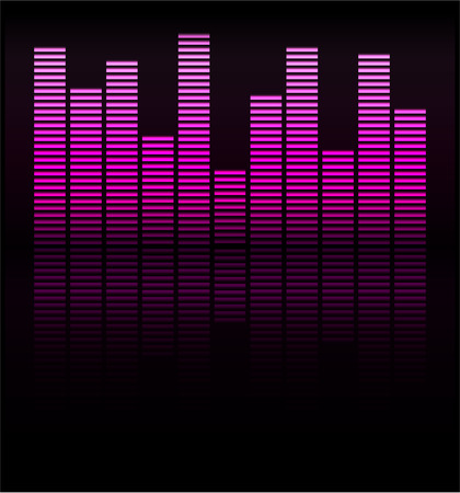 Audio level pink LED from Music Studio with reflection Vector Vector