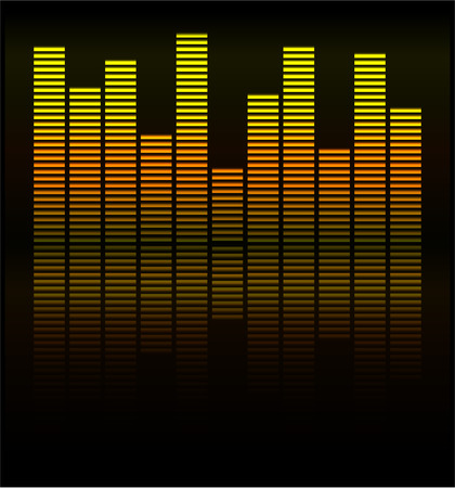 Audio level gold LED from Music Studio with reflection Vector Vector