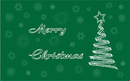 Feliz tarjeta de Navidad con copos de nieve y �rbol del vector