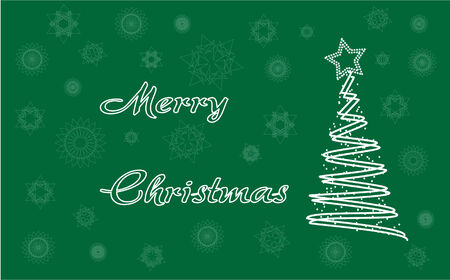 Merry christmas card with snowflakes and tree Vector