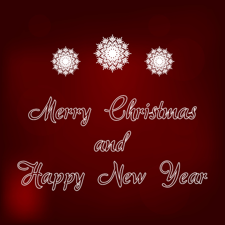 Merry Christmas and Happy New Year Vector Card on Blurred Background