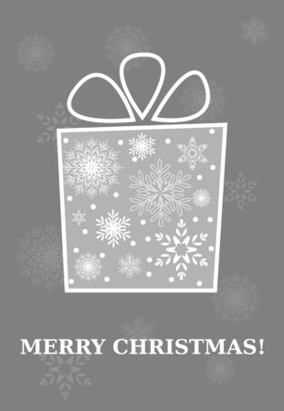 Merry Christmas Card, Gift Box with Snowflakes Vector Illustration