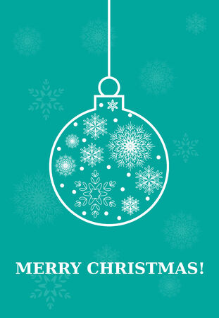 Merry Christmas card with bulb , ball with snowflakes Vector Illustration