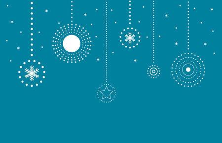 Retro Blue Merry Christmas Card . Bulb from White Circles and Snowflakes Vector Illustration