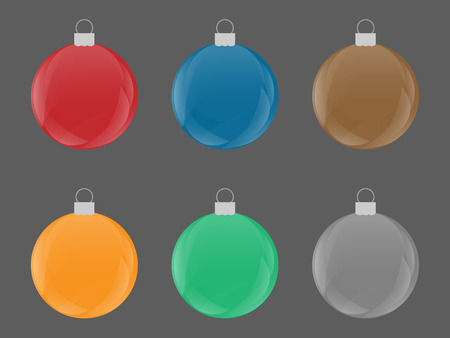 Set of colorful Christmas Retro Bulb Vector