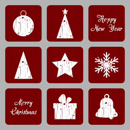Christmas Retro Icon Vector .Grunge Tree, Bulb, Star, Bell, Snowflakes and Gift Box on Red Grunge Background Vector