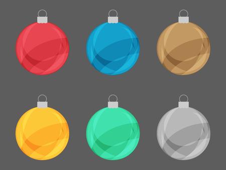 Set of colorful Christmas Retro Bulb Vector Vector