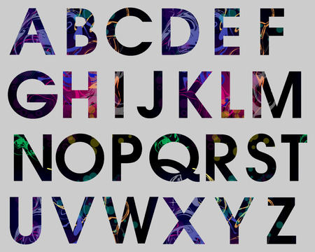 Alphabet Set Abstract Colorful Vector