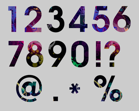 numbers abstract: Set  Numbers Abstract Colorful Vector Illustration