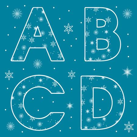 Alfabet Set Sneeuwvlokken Brieven Stock Illustratie
