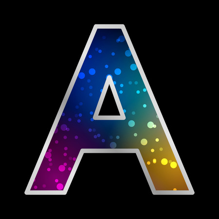 Alphabet , Letter A , Space Universet Neon Effect Vector Illustration