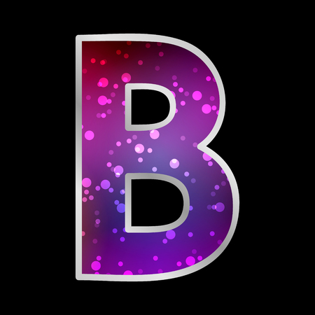 Alphabet , Letter B , Space Universet Neon Effect Vector