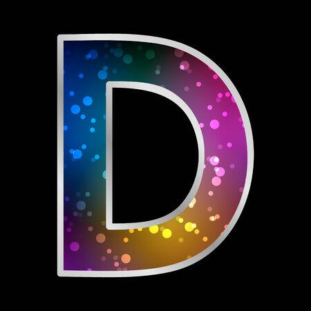 Alphabet , Letter D , Space Universet Neon Effect Vector