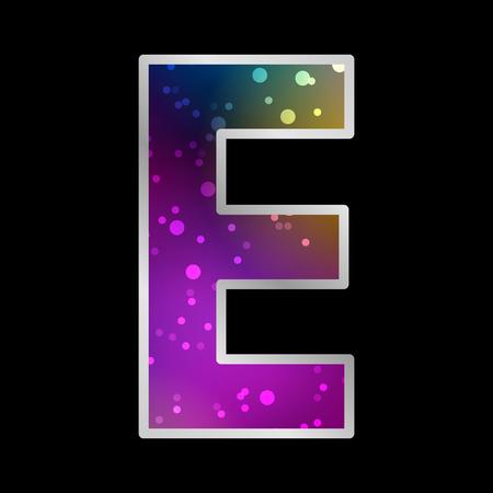 Alfabeto, letra E, Espacio Universet Efecto Neon Vector