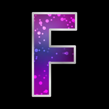 Alfabet, Letter F, Space Universet Neon Effect Vector