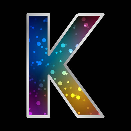 original sparkle: Alphabet , Letter K , Space Universet Neon Effect Vector