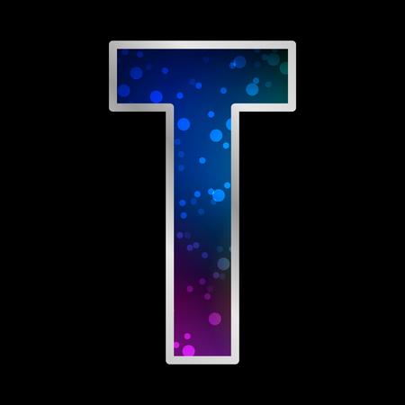 Alphabet , Letter T , Space Universet Neon Effect Vector Vector