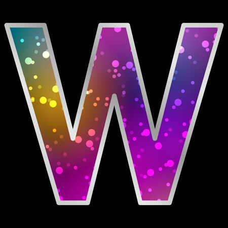 original sparkle: Alphabet , Letter W , Space Universet Neon Effect Vector