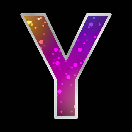 Alfabet, Letter Y, Space Universet Neon Effect Vector