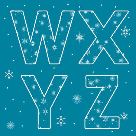 Alphabet Set Snowflakes Letters Illustration