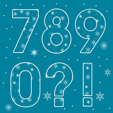 Numeric set Snowflakes Number . Illustration