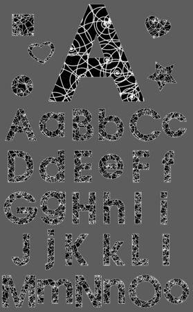 Conjunto De Alfabeto, Blanco y Negro Ornamento del remolino del vector Vectores