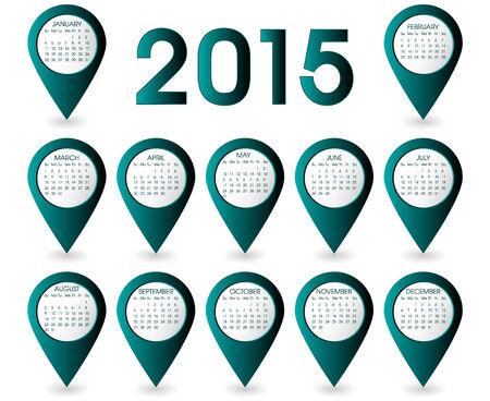Calendar Year 2015 Pins Vector Vector