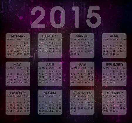 Calendar  Year 2015 Vector . Abstract Colorful Grunge Background Vector