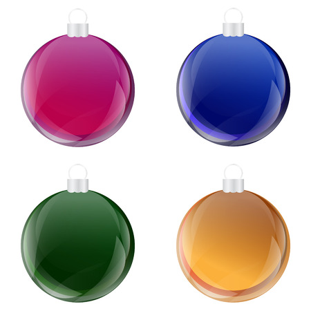 Christmas Baubles,  Bulb , Ball with Glass Effect Set Vector Vector