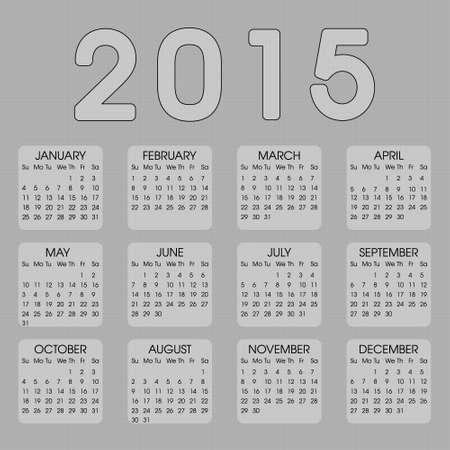 A�o Calendario 2015 Vectores