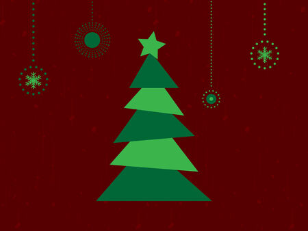 Tarjeta retra de la Feliz Navidad con el �rbol y los copos de nieve Vector