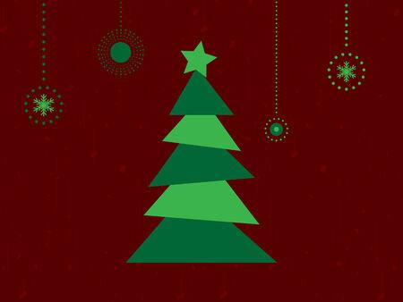Vrolijk Kerstfeest Retro kaart met boom en sneeuwvlokken Vector