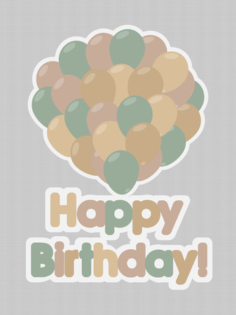 Happy Birthday Retro Card With Colorful Balloons Vector Royalty Free