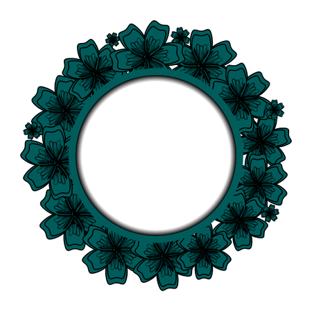 Blue Floral Frame voor uw ontwerp. Bloem banner met plaats voor uw tekst.