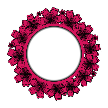 Pink Floral Frame for Your Design. Flower Banner With Place For Your Text. Vector