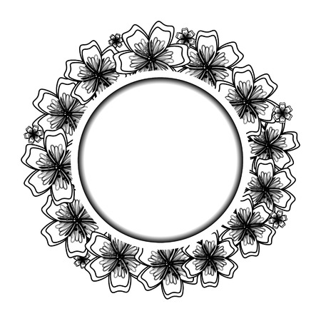Black and White Floral Frame for Your Design. Flower Banner With Place For Your Text. Vector