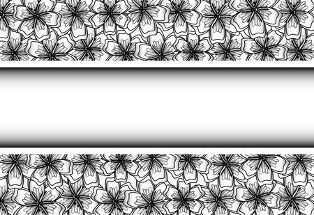 Black and White Floral Frame voor uw ontwerp. Bloem banner met plaats voor uw tekst.