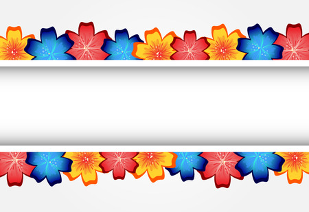 Rainbow Floral Frame for Your Design. Flower Banner With Place For Your Text. Vector