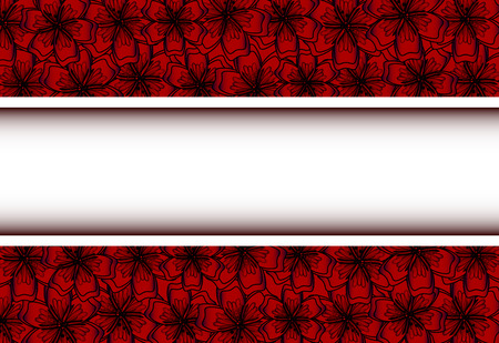 Red Floral Frame for Your Design. Flower Banner With Place For Your Text. Vector