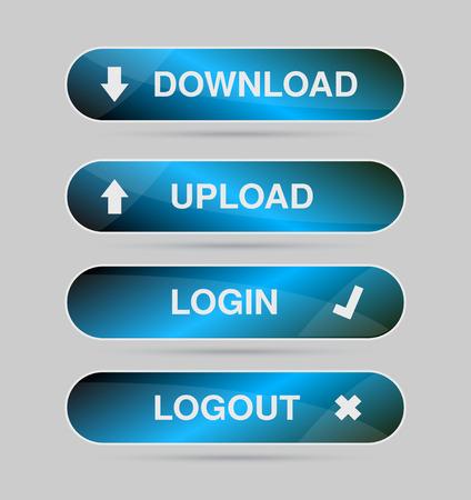 logout: Set blue icon, button - login, logout, download, upload Vector Illustration