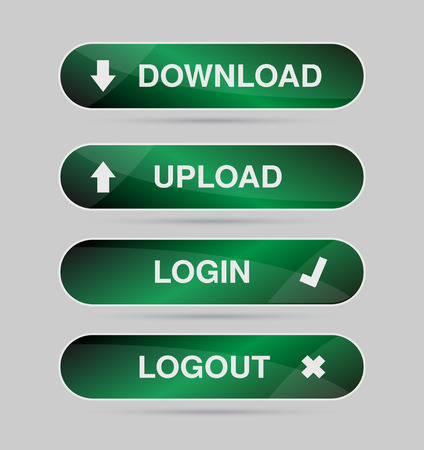 logout: Set green icon, button - login, logout, download, upload Vector