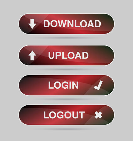 logout: Set red icon, button - login, logout, download, upload Vector
